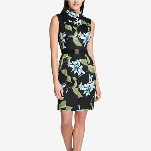 78d6d0672a Tommy Hilfiger Dresses   Floral Printed Belted Scuba Dress   Poshmark